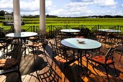 Patio overlooking vineyard stock photos