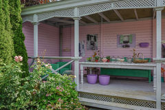 Patio painted in pastel tones and furnished as a living room. Appeltern, The Netherlands, July 22, 2015: The Gardens of Appeltern is the inspiration garden park royalty free stock photo