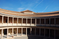 Patio of the palace of Charles V. In Alhambra, Granada, Spain Royalty Free Stock Photo