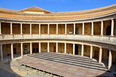 Patio of The Palace of Charles V, Alhambra, Granada, Spain. Circular courtyard of the The Palace of Charles V at the Alhambra in Granada, Spain royalty free stock images