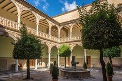 Patio of Palace Jabalquinto - University building in Baeza, Spain. BAEZA,SPAIN - OCTOBER 2,2017 - Patio of Palace Jabalquinto - University building in Baeza stock image