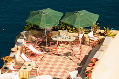 Patio and parasols Royalty Free Stock Photo