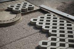 Patio paving blocks on sand Royalty Free Stock Photos