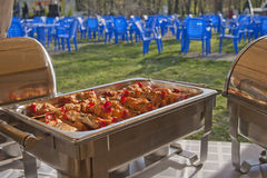 Patio picnic catering. Food warmer. Shish kebab from a hen Royalty Free Stock Image