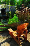 Patio and pond landscaping Royalty Free Stock Photography