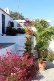 Patio rempli de fleur grec, l'île de Rhodes image libre de droits