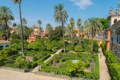 Gardens Royal Alcazar of Sevilla. Andalusia, Spain royalty free stock photography