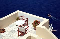 Patio on Santorini. Patio on the greek island of Santorini with view of the caldera Royalty Free Stock Photos