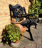 Patio seating area of an English Country garden Royalty Free Stock Photo