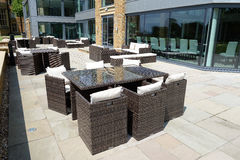 Patio seating area Stock Photo