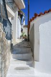 Patio with stairs on the coast of Greece Royalty Free Stock Photos