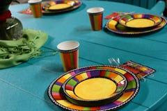 Patio-Tabelle eingestellt für eine Partei Stockfotografie