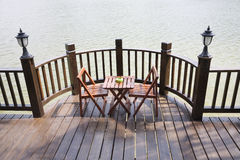 Patio with table and chairs Royalty Free Stock Image