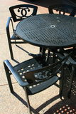 Patio Table and Chairs. Close up of the patio table and chairs Stock Photos
