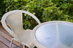Patio table. In a tropical garden Royalty Free Stock Photography