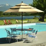 Patio Table Umbrella Pool Golf Royalty Free Stock Images