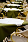 Patio tables arranged in line Stock Photos