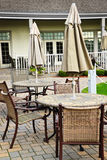Patio tables and chairs Stock Photo