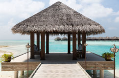 Patio or terrace with canopy on beach sea shore Stock Photo