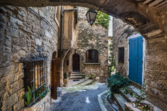 Patio at the tiny old streets Royalty Free Stock Images