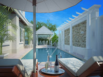 patio trasero con el área entretenida y la piscina, 3d Foto de archivo