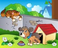 Patio trasero con el gato y el perro de la historieta Fotos de archivo