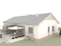 Patio trasero de la casa clásica con la terraza foto de archivo