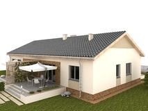 Patio trasero de la casa clásica con la terraza y el jardín. Imagen de archivo libre de regalías