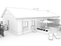Patio trasero de la casa moderna con la terraza Imagenes de archivo