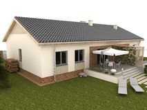 Patio trasero de la casa moderna con la terraza y el jardín fotografía de archivo libre de regalías