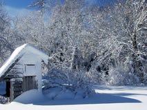 Patio trasero en invierno fotografía de archivo