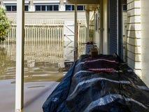 Patio trasero inundado Fotos de archivo libres de regalías
