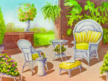 Patio with Two Wicker Chairs Stock Image