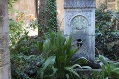 Patio verde antico con un sourcer Fotografia Stock