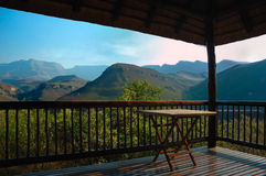 Patio with a view. Great view from a patio to the Drakensberge mountains (South Africa Stock Image