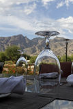 Patio view with mountains and sky Royalty Free Stock Photo