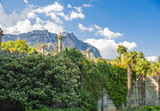 Patio Vorontsov Palace. View of Mount Ai-Petri from Vorontsov Palace Patio stock photo