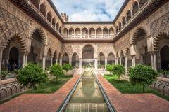 Patio w Królewskich Alcazars Seville, Hiszpania Zdjęcie Royalty Free