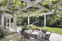 Patio with white wood beams Royalty Free Stock Photos
