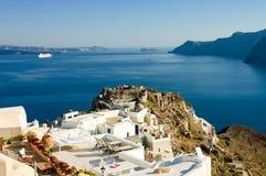 Patios over the caldera on Aegean sea Stock Photos