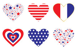 Patiotic Hearts Stock Photos