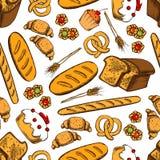 Предпосылка хлебопекарни и patisserie безшовная Стоковое Изображение
