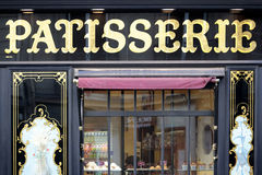 Patisserie bakery shop in St. Germain, Paris France, front entrance view. Traditional elegant french Patisserie shop in the St Germain district of Paris stock photo