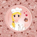 Patisserie chef with love and cupcakes Stock Image