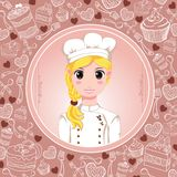 Patisserie chef with sweet frame Royalty Free Stock Images