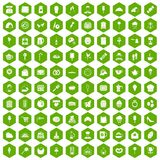 100 patisserie icons hexagon green. 100 patisserie icons set in green hexagon isolated vector illustration Stock Photography