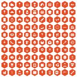 100 patisserie icons hexagon orange. 100 patisserie icons set in orange hexagon isolated vector illustration Stock Illustration