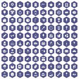 100 patisserie icons hexagon purple. 100 patisserie icons set in purple hexagon isolated vector illustration stock illustration