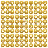 100 patisserie icons set gold. 100 patisserie icons set in gold circle isolated on white vector illustration Stock Images