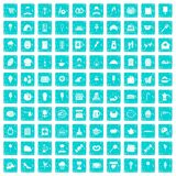 100 patisserie icons set grunge blue. 100 patisserie icons set in grunge style blue color isolated on white background vector illustration Stock Photo